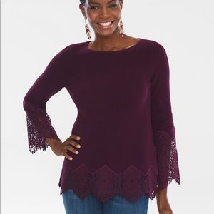 Chico's Lace Pullover Sweater Size 3